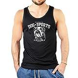 Bulldogge - Rassehund Herren Tank Top ärmelloses T-Shirt Männer mit Hunde Motiv Aufdruck Trägertop schwarz Gr: XXL :