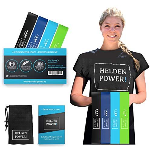 Heldenpower Sport Gummiband – Set aus 4 Latex Fitnessbänder, Anleitung, Tasche - Ideal für Training Zuhause Arme, Bauch, Beine, Po, Rücken - Fitnessband, Resistance Bands