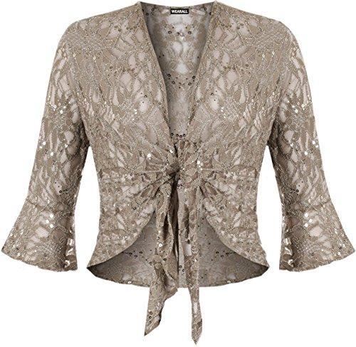 WearAll - Cardigan court pailleté en dentelle avec un noeud et les manches mi-longues et évasées - Cardigans - Femmes - Grandes tailles 40 à 54 Brun