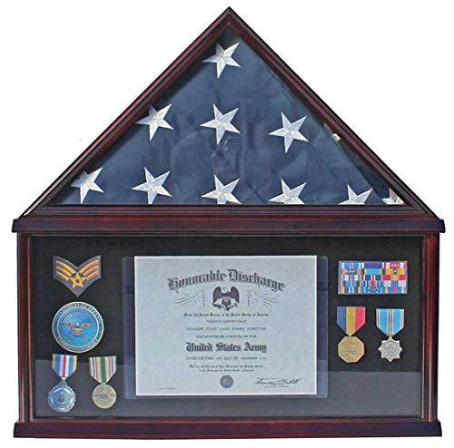 YANAN Elegante Memorial-/Beerdigungsflagge Display Fall Aufbewahrung Military Shadow Box für Memorial Flag a