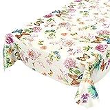 ANRO Wachstuchtischdecke Wachstuch Wachstischdecke Tischdecke abwaschbar Schmetterlinge Wiese Blumen Beige 120 x 140cm