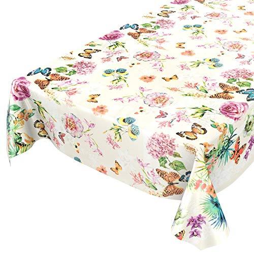 Tovaglia di tela cerata, lavabile, motivo con farfalle, prato, fiori, colore beige, dimensioni a scelta, asciugamani, mit muster, 160 x 140cm