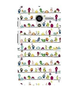 Fabcase variety birds lined up Designer Back Case Cover for Motorola Moto X :: Motorola Moto X (1st Gen) XT1052 XT1058 XT1053 XT1056 XT1060 XT1055