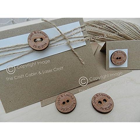 50 x Bottone in legno per sigillare inviti di matrimonio, decorare tavole, stile vintage