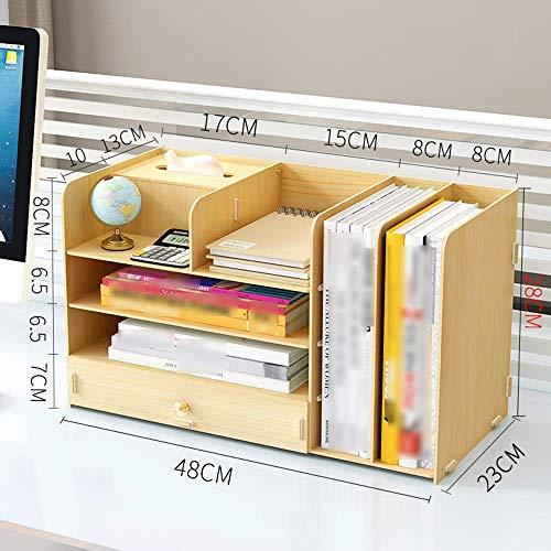 Desktop-Aufbewahrungsbox Holzaktenregal Büroregal Papierhandtuch (3 Farben) Desktop-Bücherregal (Farbe: Weißer Ahorn) -