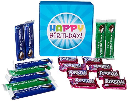 The Ultimate Fry's Chocolate Lovers Happy Birthday Gift Box - By Moreton Gifts - Full of Fry's Chocolate Bars - Chocolate Cream, Peppermint Cream and Turkish Delight
