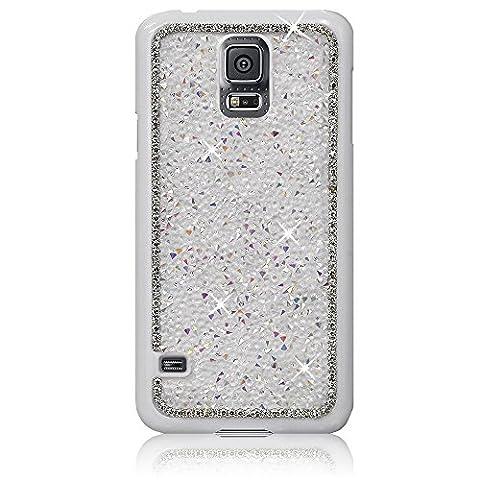 Xtra-Funky Exklusiv Samsung Galaxy S5 (i9600) Kristallrhinestone-Felsen harter Fall mit Sekt Diamante Kanten und Chrom-Rim - Weiß
