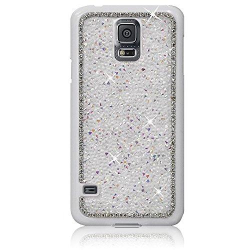 Xtra-Funky Exklusiv Samsung Galaxy S5 (i9600) Kristallrhinestone-Felsen Harter Fall mit Sekt Diamante Kanten und Chrom-Rim - Weiß - Rim Weiß Glas