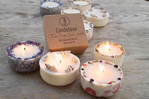 Duftkerze Soja Lavendel Beige Blau Kerze aus Bio Sojawachs ätherisches Lavendel Öl Geschenk - 4