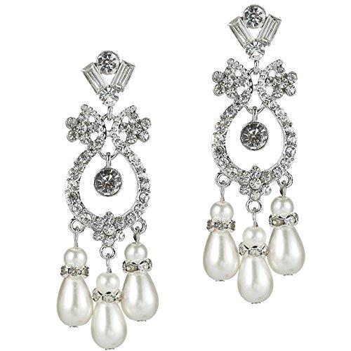 ArDeco Damen Flapper Ohrringe 1920s Retro Stil Dangle Ohrringe Inspiriert von Great Gatsby Damen Kostüm Accessoires 8.8*2.1 cm (Style 2)