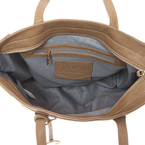 Trussardi Jeans Borsa a Mano da Donna con Ampi Manici in Eco Pelle �?37x29x17 Cm - Mod. 75B700SM Fango