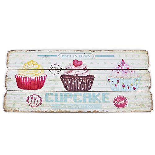 Dadeldo Holzschild Cupcakes Design MDF 15x34cm Wand-Bild Kunstdruck (Bunt Pink)