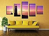 Wowdecor Bilder 5 Teilig Leinwand Malerei Drucke - Lila Himmel Meer Leuchtturm Landschaft Giclee Home Wohnzimmer Schlafzimmer Modern Wand Bild Deko, Poster Geschenk gedruckt - Ungerahmt (klein)