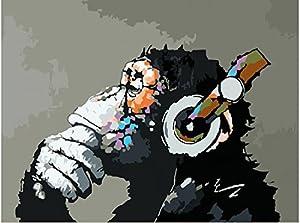 [Senza cornice] Dipingere con i numeri -Nuova Versione Fai da te Olio La pittura di Numeri Kit Olio La pittura di Numeri Kit - Digitale Pittura ad olio Tela animazione Kits per Adulti , kids Parete Arte Artwork per Casa Vita Camera Ufficio Immagine Decoro Decorazioni I regali Vernice di DIY da Numbers diy Tela Kit per Avanzate anziani Seniors ,Mantenere una innocenza infantile-materiale di tela-Musica e la scimmia 16x20 inch