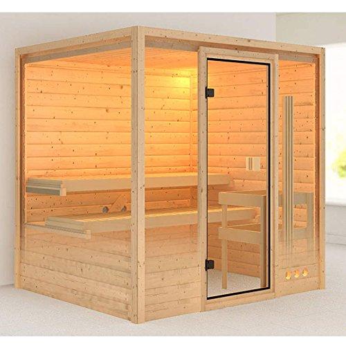Karibu Sauna Adina mit Dachkranz (Fronteinstieg) - für niedrige Räume