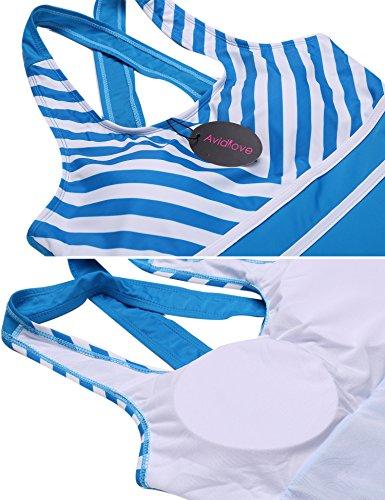 Avildove Damen Badeanzug Rock Push Up Tankini mit Hotpants Badeanzug Schlankheits Mit Röckchen Bademode Grün