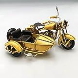 Metall Collectible gelb Seite Motorrad Miniatur–Retro Industrie Deko Figur–Metall Replica Deko Figur Fahrrad Modell–Collectible Motorrad–Tischplatte Motorrad–Retro Seite Bike Ornament