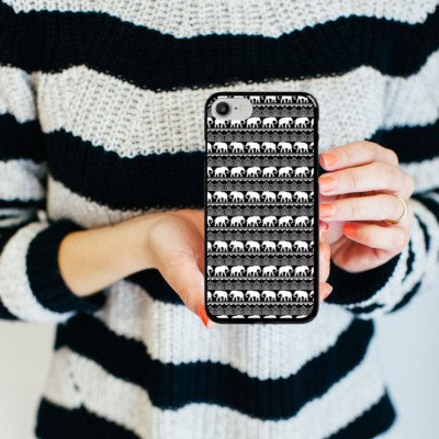Apple iPhone X Silikon Hülle Case Schutzhülle Elefant Henna Mandala Hard Case schwarz