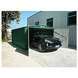 Generico - Garaje exterior para coches metalico con doble puerta y dos aguas 480 largo x 380 ancho x 232 alto cm