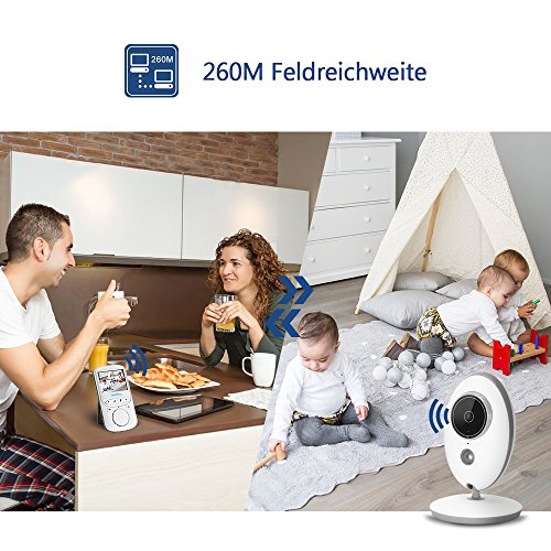 "Babyphone 2.4 GHz Baby monitor 2.4"" HD Digital  Video Babykamera Mit VOX Funktion Wireless Weiß - 5"