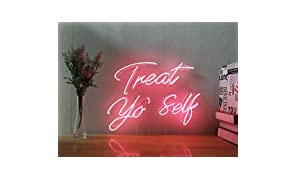 Treat Yo Self Real Glass Neon Sign For Bedroom Garage Bar Man Cave Room Home Decor Personalised Handmade Artwork Visual Art Dimmable Wall Lighting Includes Dimmer