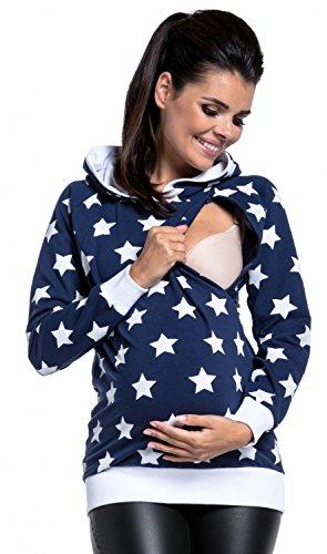 Zeta Ville - Umstandskleidung Damen Still-Sweatshirt Kapuze Sterne Design - 710c (Marine, EU 40/42, XL) (Sweatshirt Kapuzen Xl Jersey)