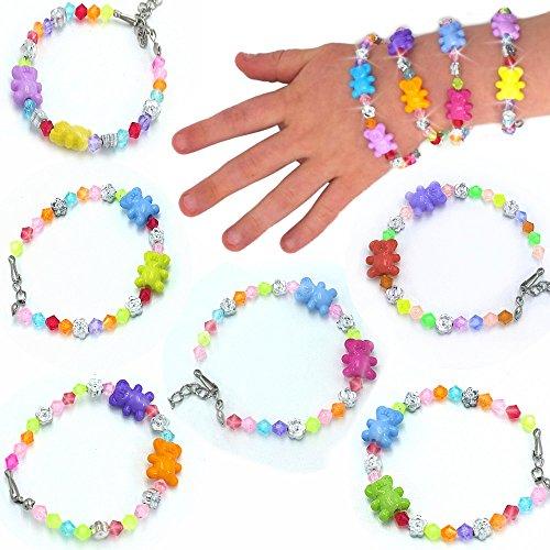 � - 12 x Bären Kristall Armbänder für Kinder ┃ Schmuck Bärchen┃ Kindergeburtstag ┃ Mitgebsel ┃ Bärchen ┃ Kinderschmuck ┃ 12 Stück ()