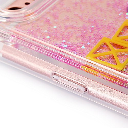"""iPhone 7 Hülle, iPhone 7 Handytasche, CLTPY 3D Dynamisch Treibsand Flüssige Fließend Glitzer Sparkle Diamant Hartplastik & Soft TPU Hybrid Transparent Schale Case für 4.7"""" Apple iPhone 7 + 1 x Griffel Rosa-Quadrat"""