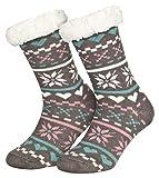 Piarini 1 Paar Kuschelsocken mit ABS Sohle | warme Damen Socken | Wintersocken mit Anti Rutsch Noppen | Love-Grau (One-Size)