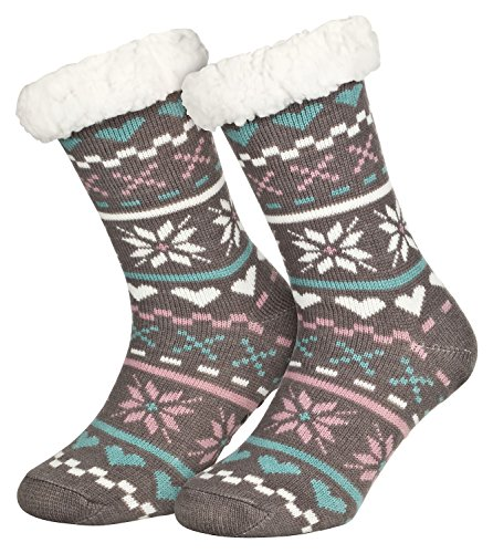 Piarini 1 Paar Kuschelsocken mit ABS Sohle - warme Damen Socken Hüttensocken - Wintersocken mit Anti Rutsch Noppen - Love-Grau (One-Size)