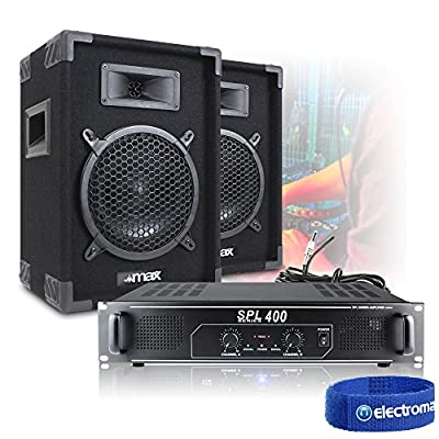 "Pair of 8"" Portable DJ PA Party Speakers + Skytec SPL-400 Amp + Cables 300W"