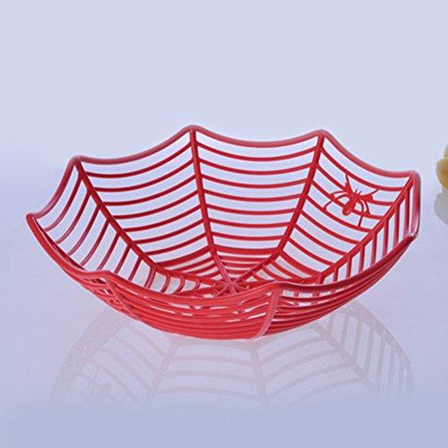 elegantstunning Fruit Tablett Spider Web Fruits Candy Korb Kunststoff Schüssel Halloween Party Decor rot