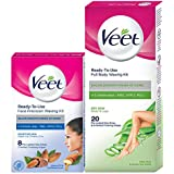 Veet Face and Body Waxing Kit for Dry Skin - 8 + 20 Strips