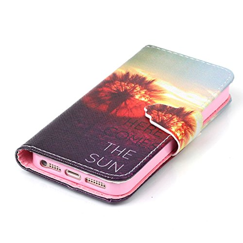 iPhone SE Hülle Anime,iPhone SE Hülle Blumen,iPhone SE Hülle Flip Case für iPhone 5S,iPhone SE 5S 5 Hülle Tasche Schwarz PU Leder Brieftasche Hülle,EMAXELERS iPhone SE Hülle Wallet Case flip Cover Hül Animal Flower 6