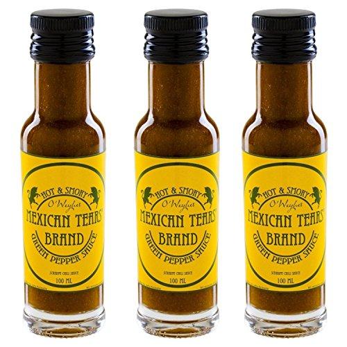 517ar%2B%2BXxSL - Mexican Tears® - Green Pepper Sauce - 3er Pack, scharfe Sauce aus Chili & Meersalz, perfekt als Grill-Zubehör für BBQ Sauce, Pulled Pork & zum Aufpeppen von Suppen [3x100ml Chilisauce]