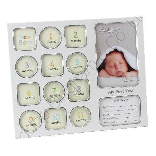 first-year-photo-picture-frame-keepsake-memories-baby-born-data-christening-gift
