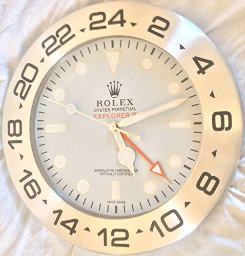 muro Rolex 35 CM Explorer 2 Metallo Movimento Silenzioso + 2 CD Audio Omaggio (QUADRANTE Bianco)