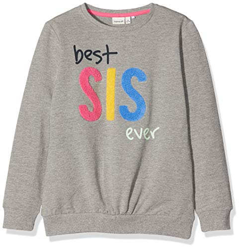 NAME IT NAME IT Mädchen Sweatshirt NMFDEDA Sweat UNB, Grau (Grey Melange), (Herstellergröße: 92)
