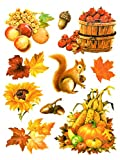dpr. Fensterbild Set 10-tlg. Herbst Früchte Kürbis Laub Eicheln Holzfass Eichhörnchen statisch selbsthaftend Fenstersticker Fensterdeko Herbstdeko
