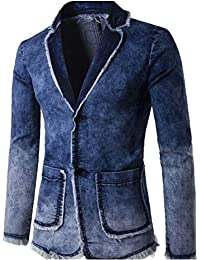 chenshijiu Men Casual Business Blazer Slim Fit Washed Denim Jackets Coats