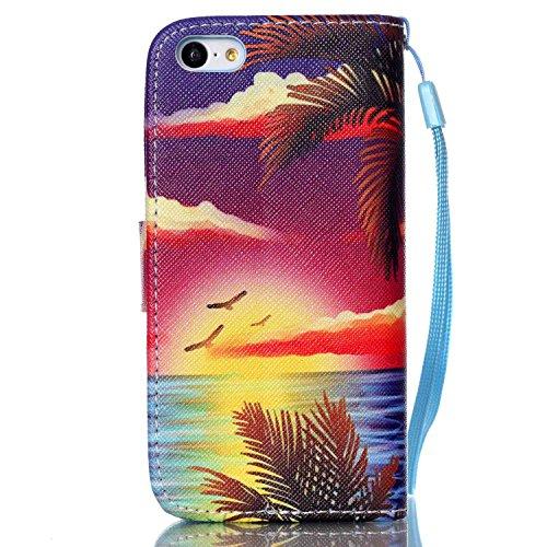 Meet de Apple iPhone 5C Bookstyle Étui Housse étui coque Case Cover smart flip cuir Case à rabat pour Apple iPhone 5C Coque de protection Portefeuille - Have a nice day Hawaii