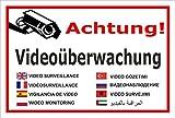 Video-Überwachung Aufkleber - Achtung Videoüberwachung - in 8 Sprachen – 30x20cm – S00348-011-B – Kamera-Überwachung +++ in 20 Varianten erhältlich