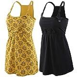 ZUMIY Still-Top, Schwangeres Stillshirt aus Baumwolle- Umstandsmode T-Shirt Damen Still Umstands-Top mit Doppelter Öffnung - Rennfahrer Zurück