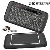 Mini teclado H20 2.4G Teclado inalámbrico para juegos con Touchpad Mouse Contraluz RGB Control remoto inteligente de TV para Android TV Box, PC con Windows, Ordenador portátil, HTPC, IPTV, Raspberry P