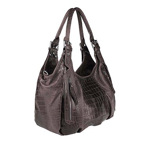 OBC Made in Italy Damen Leder Tasche Shopper Kroko Handtasche Umhängetasche Schultertasche Beuteltasche (Dunkelbraun/Moro) Dunkelbraun/Moro