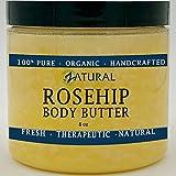 Naked Supplements MANTEQUILLA de rosa mosqueta de semillas orgánicas con Virgen karité (8 oz)-vitamina C pura para la cara, el pelo y el cuerpo | Calmar, sanar | Seguro para todas las edades (8 oz)
