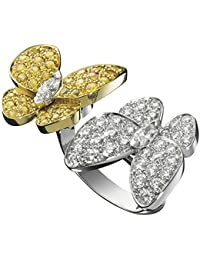 RG Jewellery 925 Sterling Silver-Two-Butterfly-In-the-Finger-Two-Tone-White-diamonds-and-yellow-sapphires-Beautiful-Ring