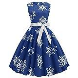 IZHH Damen Vintage Kleider Weihnachten Frauen Geschenk Ärmelloses Schnee Druck Verband Vintage Kleid Party Dressoutdoor Club Karneval Thanksgiving Kleid(Blau,Medium)