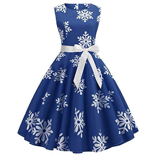 """Xmiral Weihnachten Kleid Damen Ã""""rmellos Schnee Druck Verband Vintage Kleid Partykleider (S,Blau)"""