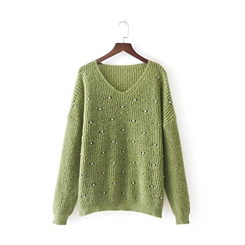MEI&S Col en V femmes Regroupement cavaliers occasionnels Haut Pull Sweater sweat-shirts Grass Green